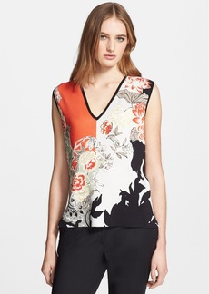 Etro Colorblock Floral Print Silk Sweater