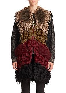 Etro Colorblock Mongolian Lamb & Knit Vest