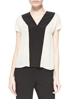 Etro Colorblock V-Neck Cap-Sleeve Top, White