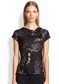 Etro Cowl Neck Floral Top