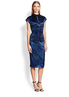 Etro Crystal-Embellished Silk Paisley Dress