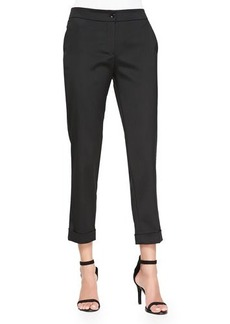 Etro Cuffed Cigarette Capri Pants, Black
