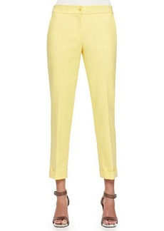 Etro Cuffed Cigarette Capri Pants, Gold