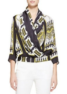 Etro Deco Domino Georgette Blouse, Black/Gold