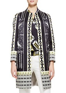 Etro Deco Dot Cloque Car Coat, Black/Gold