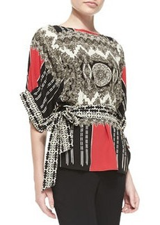 Etro Deco Kimono-Sleeve Belted Blouse, Coral