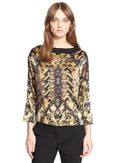 Etro Embellished Neck Marble Print Silk Blouse