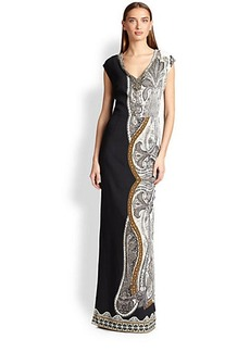 Etro Embellished V-Neck Printed Gown