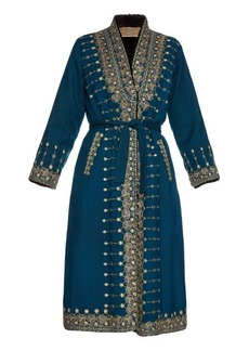 Etro Embroidered fur-lined coat