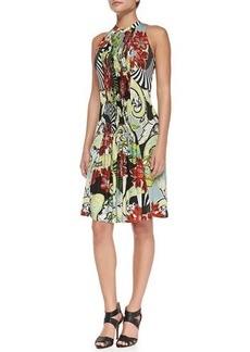 Etro Fan, Floral & Paisley-Print Smocked Halter Dress