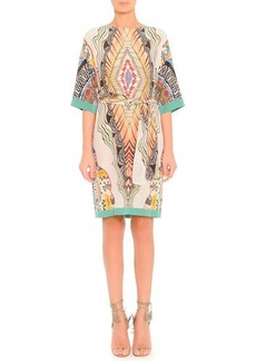 Etro Feather-Print Silk Dress with Belt