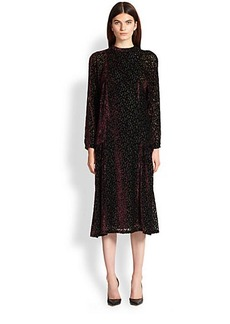 Etro Flocked Keyhole-Back Dress