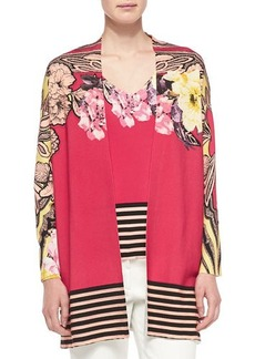 Etro Floral Cardigan W/ Striped Hem