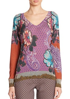 Etro Floral Dot Silk & Cashmere Sweater