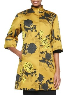 Etro Floral Duchess Satin Coat, Gold