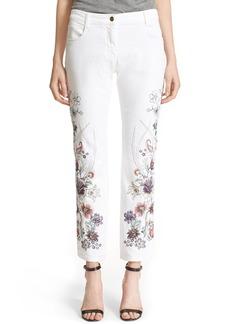 Etro Floral Embroidered Stretch Cotton Boyfriend Jeans (White)