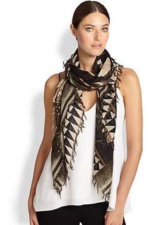 Etro Floral Fringed Wool & Silk Scarf