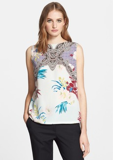 Etro Floral Geo Print Silk Blouse