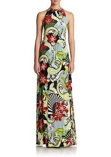 Etro Floral Jersey Halter Gown