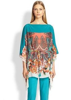 Etro Floral Paisley Silk Caftan Top