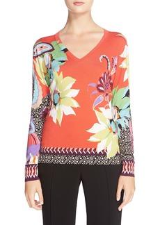 Etro Floral Pattern Stretch Silk Sweater