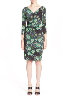 Etro Floral Print Faux Wrap Jersey Dress