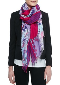 Etro Floral-Print Scarf with Fringe, Blue/Pink