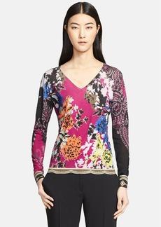 Etro Floral Print Silk & Cashmere Sweater