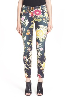 Etro Floral Print Skinny Fit Stretch Cotton Jeans