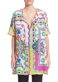Etro 'Floral Quad' Fringed Silk Tunic