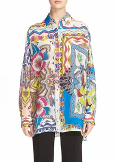Etro 'Floral Quad' Oversized Cotton & Silk Shirt
