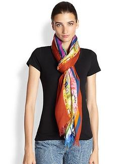 Etro Floral-Stripe Modal & Cashmere Scarf