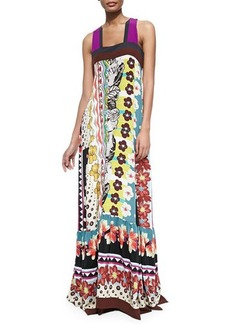 Etro Floral/Zigzag Tiered Silk Patio Dress