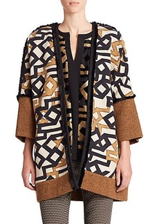 Etro Fringed Mixed-Media Coat