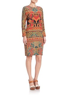 Etro Geo Fern Print Silk Dress