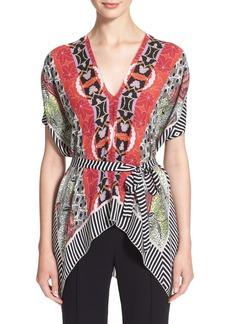 Etro Geo Leaf Print Silk Poncho Top