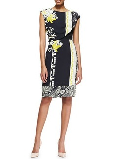 Etro Geo Patch & Floral-Print Drape-Top Dress