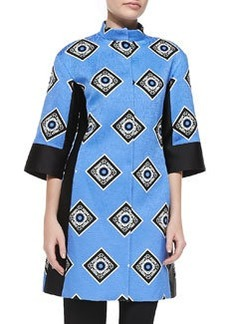 Etro Geometric-Square Neru Elbow-Sleeve Jacket, Blue