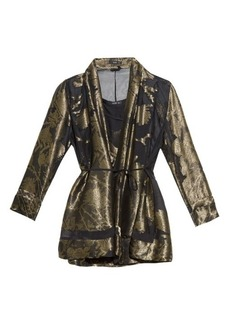 Etro Gold-leaves jacquard top