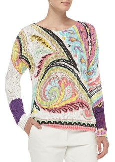 Etro Hand-Painted Paisley Fisherman Sweater