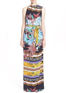 Etro 'Hawaiian Floral' Print Cady Gown