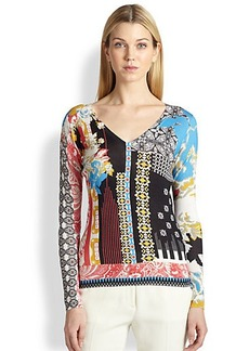 Etro Hawaiian Paisley V-neck Sweater
