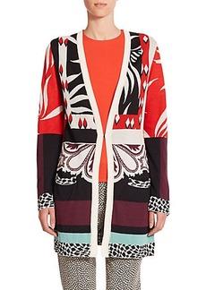 Etro Instarsia Long Cotton & Silk Cardigan