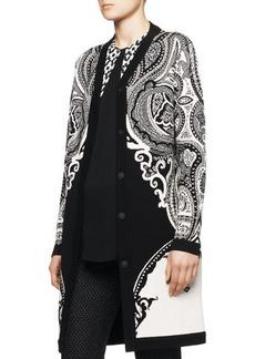 Etro Intarsia-Knit Paisley Duster Coat