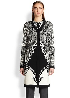 Etro Intarsia Paisely Sweater Coat