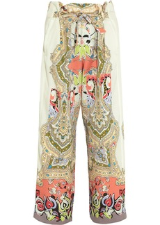 Etro Jade printed silk-crepe wide-leg pants