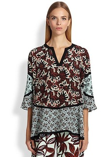 Etro Jagged Floral Silk Blouse