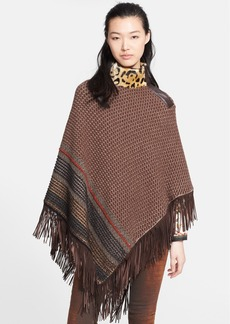 Etro Knit Poncho with Genuine Kid Lamb Fur Collar