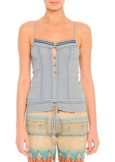 Etro Lace-Trim Beaded Camisole, Blue