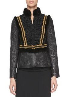 Etro Leather, Mink Fur & Lamb Jacket